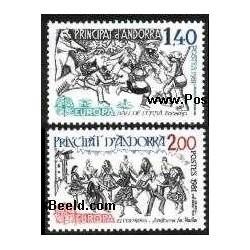 2 عدد تمبر مشترک اروپا - Europa Cept - فورکلور - فرانسه آندورا 1981