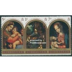 3 عدد تمبر کریستمس - تابلو نقاشی - جبل الطارق 1969