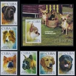 سونیرشیت و 6 عدد تمبر سگها - کوبا 2008