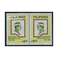 2 عدد تمبر دویستمین سالگرد تولد F. Balagtas - فیلیین 1988