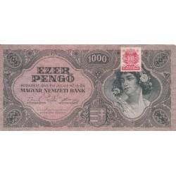 اسکناس 1000 پنگو - مجارستان 1945 - با تمبر بانک