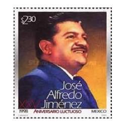 1 عدد تمبر بیست و پنجمین سالروز مرگ خوزه آلفردو جیمنز - خواننده - مکزیک 1998