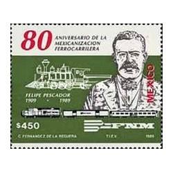 1 عدد تمبر هشتادمین سالگرد ملی شدن راه آهن - مکزیک 1989