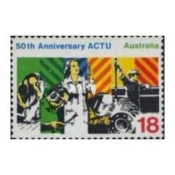 1 عدد تمبر 50مین سالگرد شورای اتحادیه های کارگری - استرالیا 1977