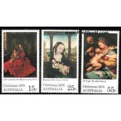 3 عدد تمبر کریستمس - تابلو نقاشی - استرالیا 1978