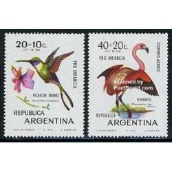 2 عدد تمبر پرندگان - آرژانتین 1970