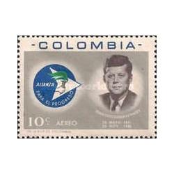 1 عدد تمبر جان اف کندی - اتحاد برای پیشرفت - هوائی - کلمبیا 1963