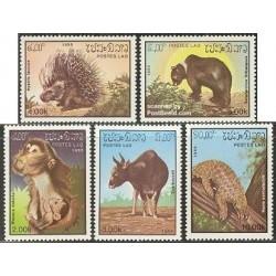 5 عدد تمبر حیوانات - پستانداران - لائوس 1985