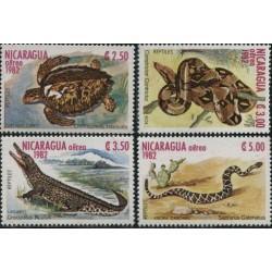 4 عدد تمبر خزندگان - پست هوائی  - نیکاراگوئه 1982
