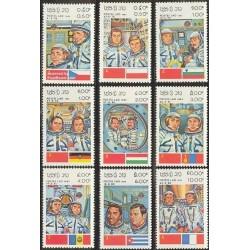 9 عدد تمبر پروازهای فضائی  - لائوس 1983