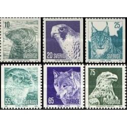 6 عدد تمبر جانوران حفاظت شده - سوئد 1973