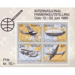 سونیرشیت نمایشگاه بین المللی تمبر NORWEX 80 - هواپیماها - نروژ 1979