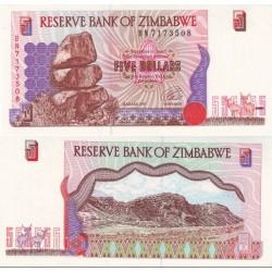 اسکناس 5 دلار زیمباوه 1997 تک