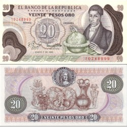 اسکناس 20 پزو - کلمبیا 1982