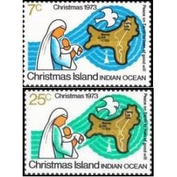 2 عدد تمبر کریستمس - جزیره کریستمس 1973
