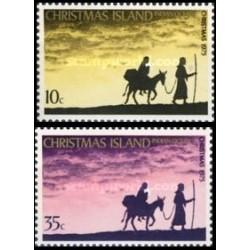 2 عدد تمبر کریستمس - جزیره کریستمس 1975