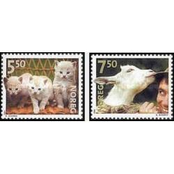 2 عدد تمبر حیوانات خانگی - گربه - نروژ 2001