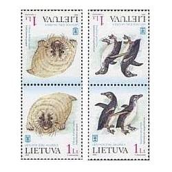4 عدد تمبر موزه دریائی - پنگوئن و فوک - لیتوانی 2000 تت بش