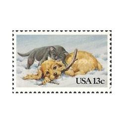 1 عدد تمبر توله سگها و گربه ها - آمریکا 1982