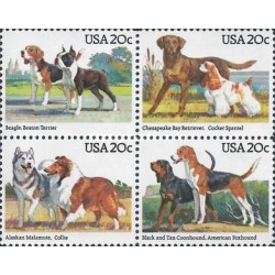 4 عدد تمبر سگهای نژاد آمریکائی - آمریکا 1984