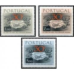 3 عدد تمبر سی امین سالگرد سازمان مادران برای تربیت ملی - پرتغال 1968