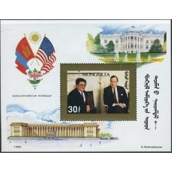 سونیرشیت بازدید رئیس جمهور از آمریکا - حاشیه تمبر طلائی - مغولستان 1992