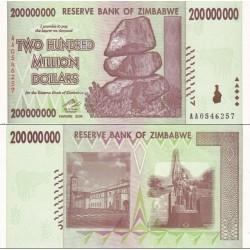 اسکناس 200000000 دلار- دویست میلیون دلار - زیمباوه 2008