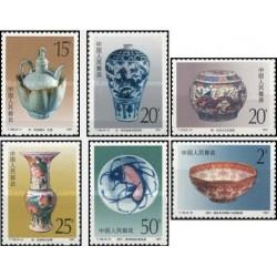 6 عدد تمبر صنایع دستی جینگدژن - ظروف چینی - چین 1991