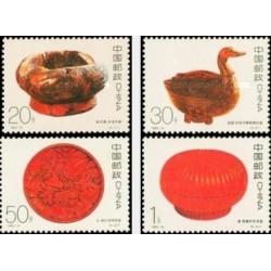4 عدد تمبر صنایع دستی - لاکی - چین 1993