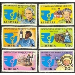 6 عدد تمبر سال بین المللی زنان - ماری کوری،النور روزولت،والنتینا ترشکوا و ... - لیبریا 1975