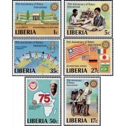 6 عدد تمبر 75مین سال روتاری بین المللی - لیبریا 1979