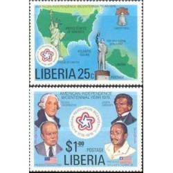 2 عدد تمبر دویستمین سال انقلاب آمریکا - لیبریا 1976