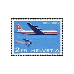 1 عدد تمبر هواپیمای پستی - سوئیس 1969