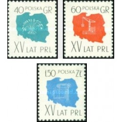 3 عدد تمبر پانزدهمین سالگرد انقلاب مردم لهستان - لهستان 1959