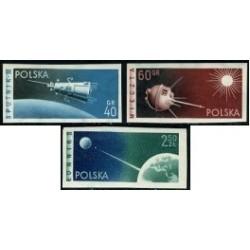 3 عدد تمبر ماهواره ها - بی دندانه - لهستان 1959