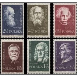 6 عدد تمبر دانشمندان بزرگ - انشتین، نیوتن،پاستور،کوپرنیک،مندلیف،داروین - لهستان 1959