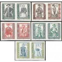 10 عدد تمبر لباسهای محلی - بی دندانه - لهستان 1959