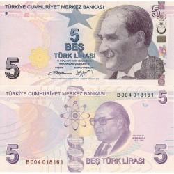 اسکناس 5 لیر - ترکیه 2009