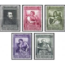 5 عدد تمبر تابلو نقاشی اثر میکلانژ - واتیکان 1964