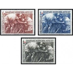 3 عدد تمبر صدمین سال صلیب سرخ بین المللی - واتیکان 1964