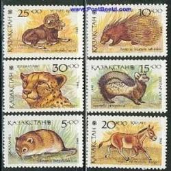 6 عدد تمبر حیوانات - قزاقستان 1993