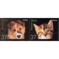 2 عدد تمبر عقیم سازی حیوانات خانگی - سگ و گربه - خود چسب - آمریکا 2002