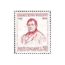 1 عدد تمبر یادبود روسینی - آهنگساز - ایتالیا 1968