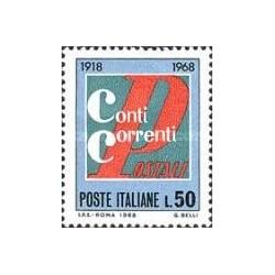 1 عدد تمبر پنجاهمین سال سرویس کنترل پستی - ایتالیا 1968