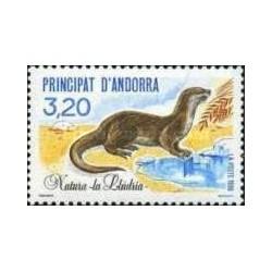 1 عدد تمبر حفاظت از طبیعت - سمور آبی - فرانسه آندورا 1990