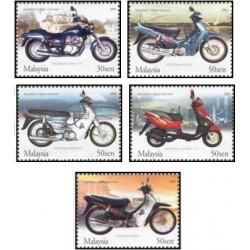 5 عدد تمبر موتورسیکلتها و اسکوترهای ساخت مالزی- مالزی 2003