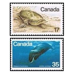 2 عدد تمبر گونه های در معرض انقراض - لاکپشت و وال گوژپشت - کانادا 1979