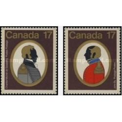 2 عدد تمبر کانادائی های مشهور - سرهنگ سالابری قهرمان نظامی و سرهنگ جان بای مهندس ارتش - کانادا 1979