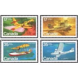 4 عدد تمبر هواپیماها و قایقهای پرنده - کانادا 1979