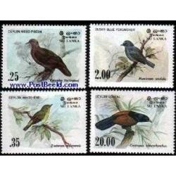 4 عدد تمبر پرندگان - سریلانکا 1983